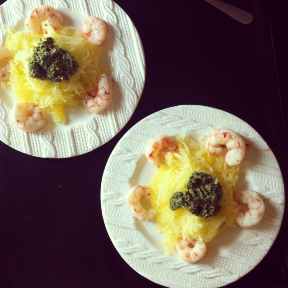 Easy Wild Shrimp & Pesto Spaghetti Squash