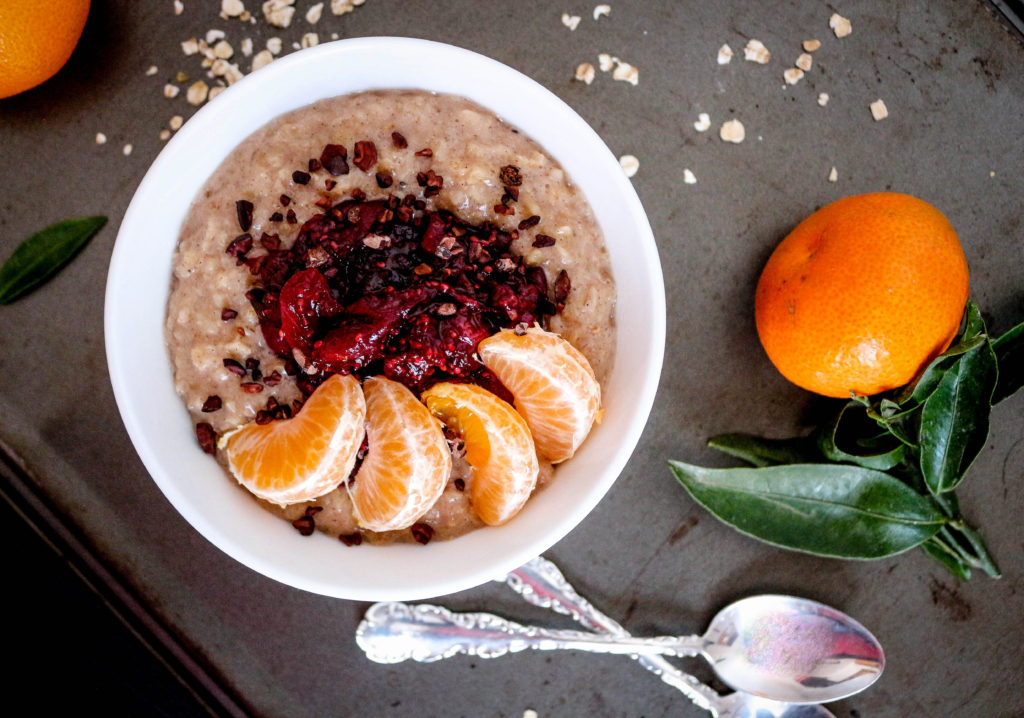 Spiced Oatmeal, Cranberry Chia Jam + Clementines {vegan + gf}