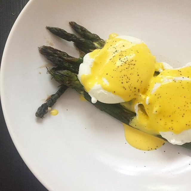 A quick brunch snap of eggs Benny on purple asparagushellip