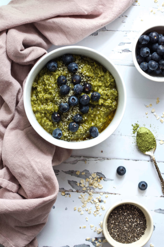 High Protein Matcha + Blueberry Oatmeal