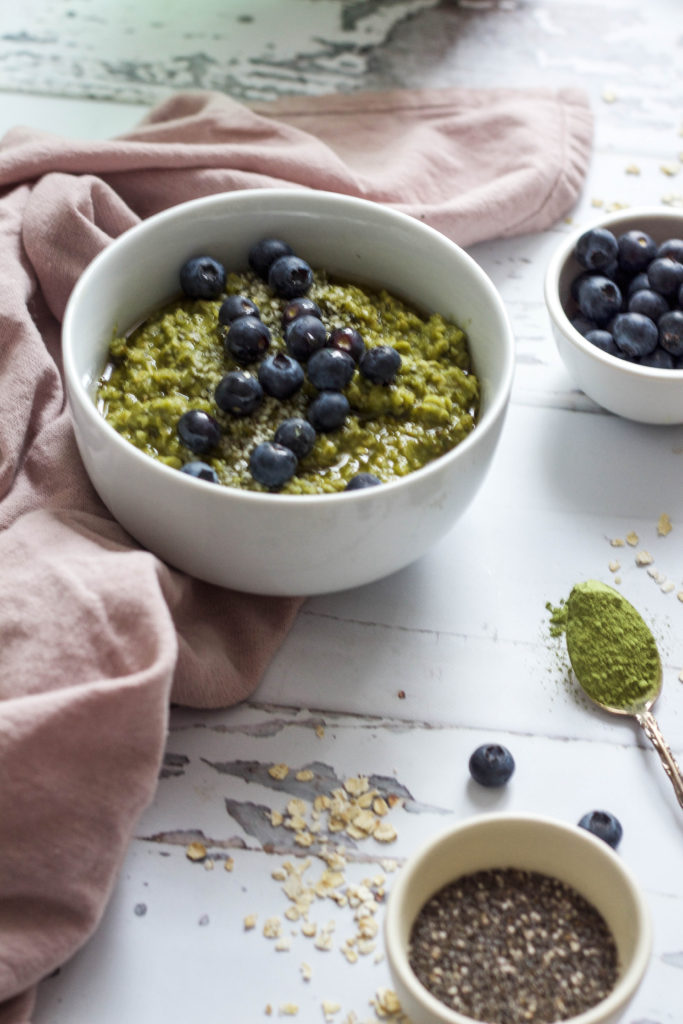 High Protein Matcha + Blueberry Oatmeal | The Nourished Mind