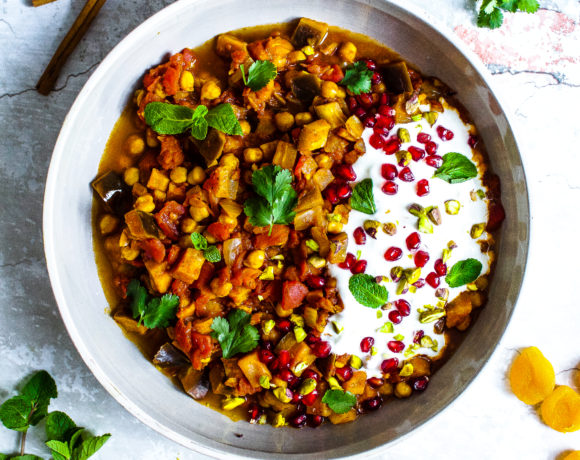 Aubergine Stew with Chickpeas, Apricots + Mint